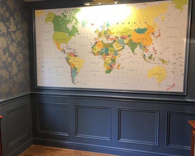 Check out one of our most recent wall panelling jobs completed in Foxrock Co Dublin. We were delighted to be part of this inspiring home office makeover. #recent #foxrock #wallpanelling #wainscoting #wallpanellingireland #shutterco #homeoffice #worldmap @shutterco_nhi