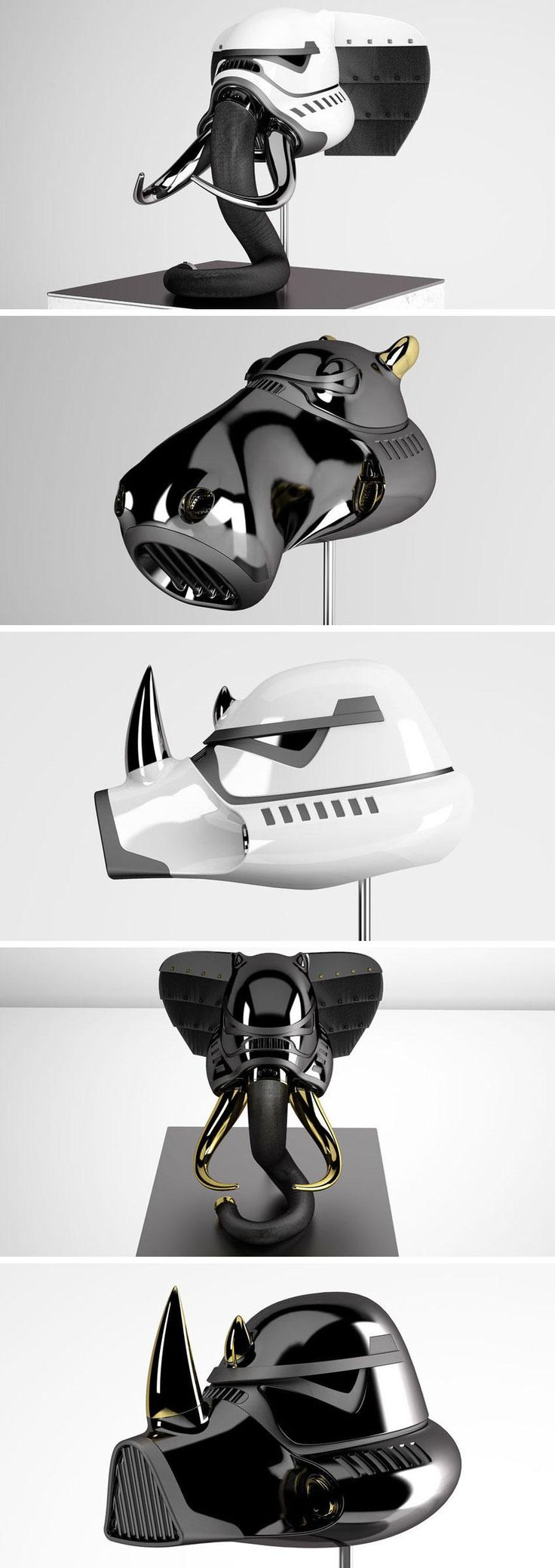 New York-based designer Blank William created an amazing series of Star Wars-themed helmets shaped like animal heads