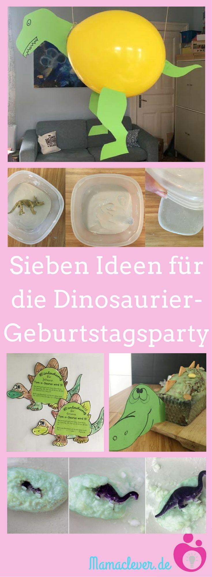 Sieben Ideen für eine Kindergeburtstagsparty zum Thema Dinosaurier. Alle ganz einfach selbst umzusetzen. #kindergeburtstag #dino #dinosaurier #dinosaurierparty