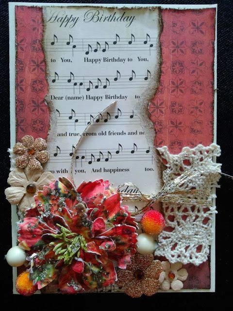 vintage card with Prima flowers