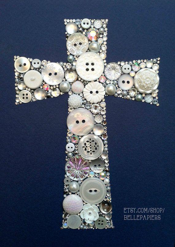Botón de 8 x 10 Art Jesus Cristo Cruz botón & por BellePapiers