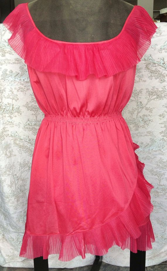Vintage 70s coral nightgown/tunic