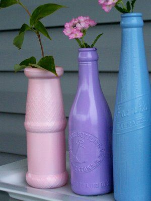 spray painted glass bottles Trash to Treasure – Using Glassware to Decorate (vlog)