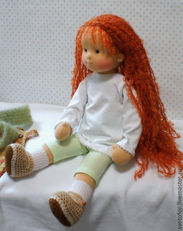 Купить Маленькая Принцесса, 38 см - рыжий, вальдорфская кукла, вальдорфская игрушка, игровая кукла