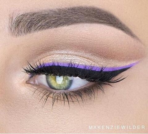 Subtle, defined brow and double eyeliner look using matte black and a vibrant true purple. Try out this look in the Speing for a defined and dramatic eye!
