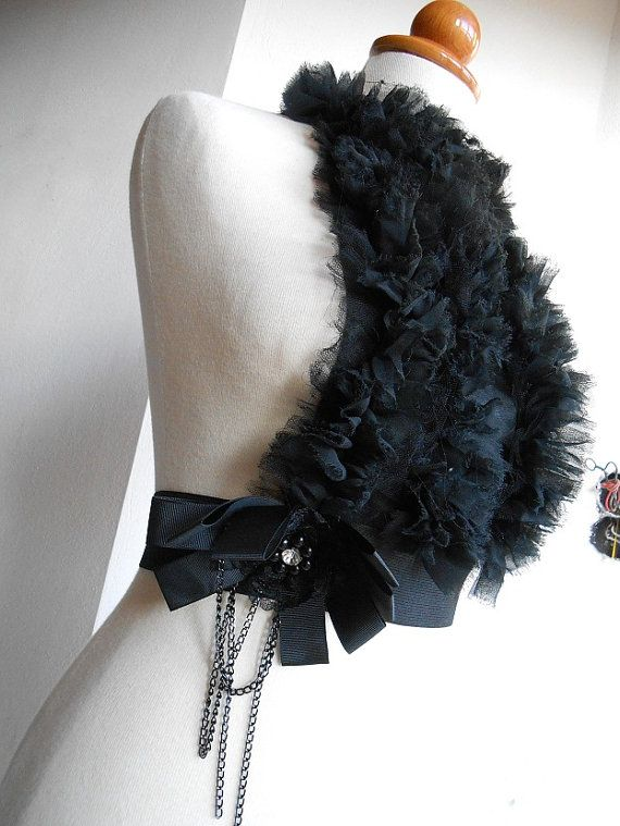 RUFFLE tulle Fashion Accessories Black Leather by ChristinaMLV