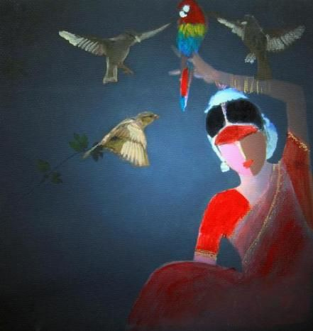 """New artwork added on IndianArtCollectors.com!  """"Bird Dancer Series 1"""" by Siddharth Katragadda Acrylic On Canvas, Size(inches): 30X30  See more artworks by Siddharth Katragadda at: http://www.indianartcollectors.com/artist/SiddharthKatragadda"""