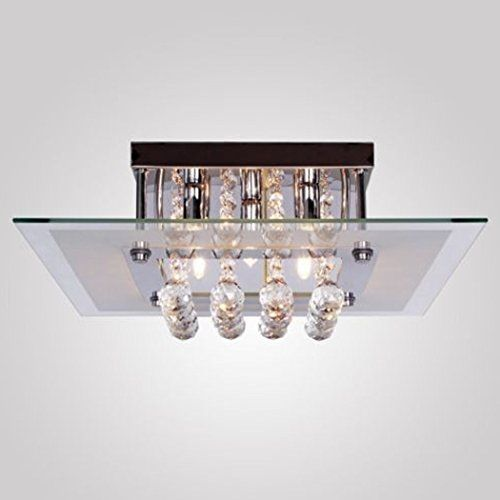 GraceloveUS StockComtemporary Crystal Drop Flush Mount Lights with 5 Lights in Square Design Modern Home Ceiling Light Fixture Flush Mount Pendant Light Chandeliers Lighting -- Click on the image for additional details. (Note:Amazon affiliate link)