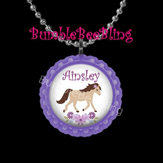 Kids Personalized Jewelry Purple Pony Custom by BumbleBeeBling, $6.00