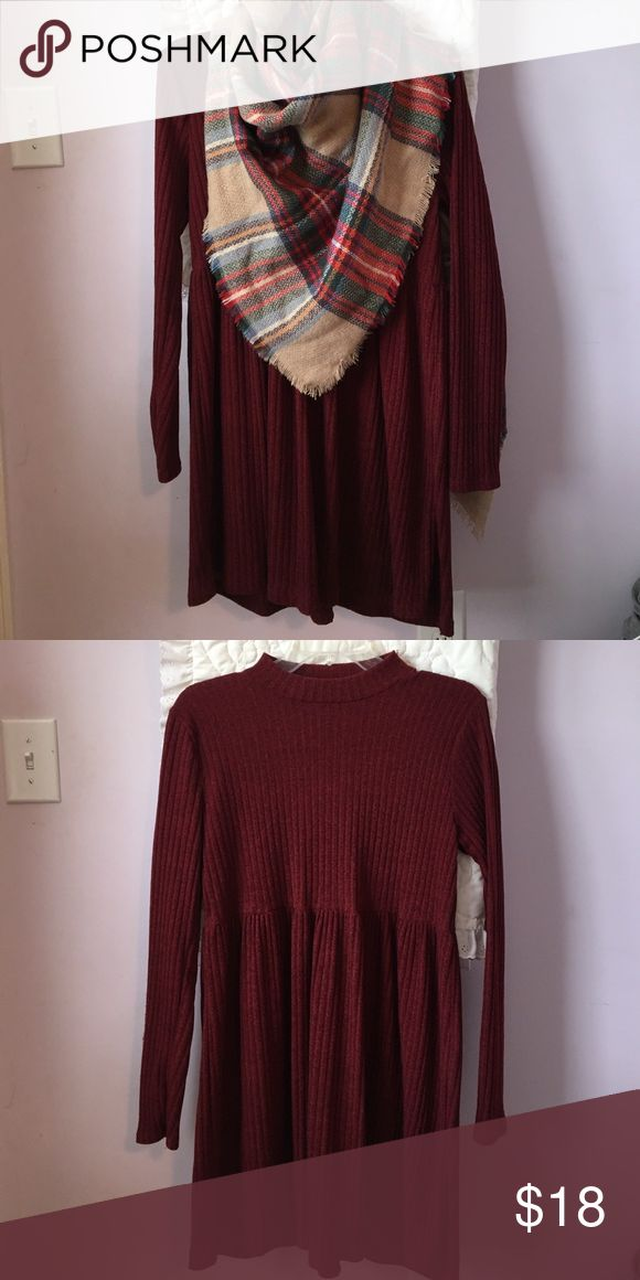Red Dress Boutique Sweater Dress Purchased from Red Dress Boutique out of Athens Georgia, high neckline, long sleeve. Worn once. Cute paired with a long necklace or blanket scarf, perfect for fall weather! Maroon in color*** Red Dress Boutique Dresses