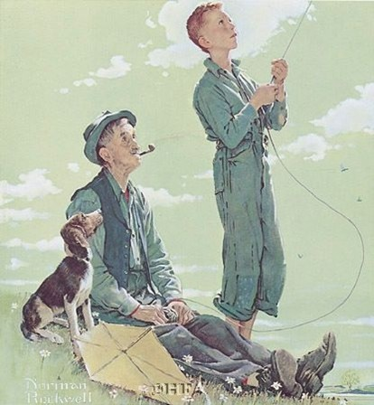 Soaring Spirits by Norman Rockwell,,,Reminds me of the story my brother told me about Daddy making him that kite.