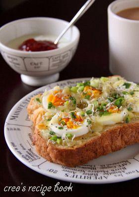 ゆで卵とじゃこねぎのトースト