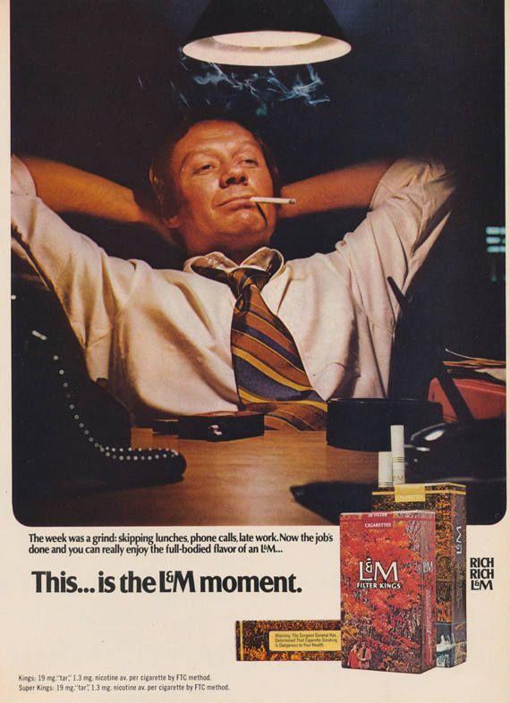 1971 LM Cigarettes Ad Businessman Smoking Photo Vintage