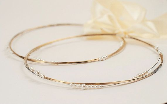 STEFANA Wedding Crowns - Orthodox Stefana - Bridal Crowns Silver Gold GHEA - One Pair
