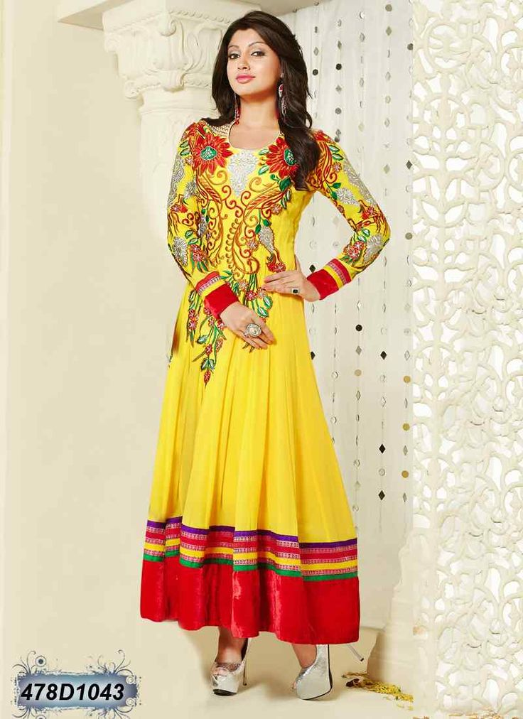 Versatile Yellow Coloured Georgette Anarkali Salwar Suit