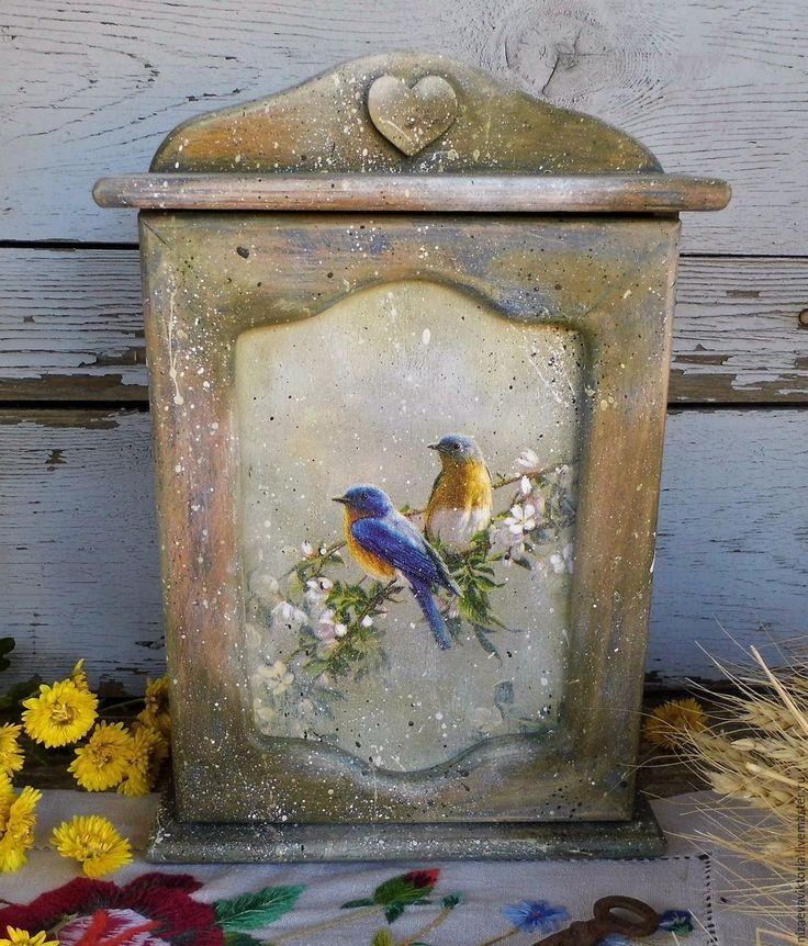 """Купить """"Ancien jardin"""" - Деревянная ключница - разноцветный, ключница, винтаж, состаренный стиль, птичка на ветке"""