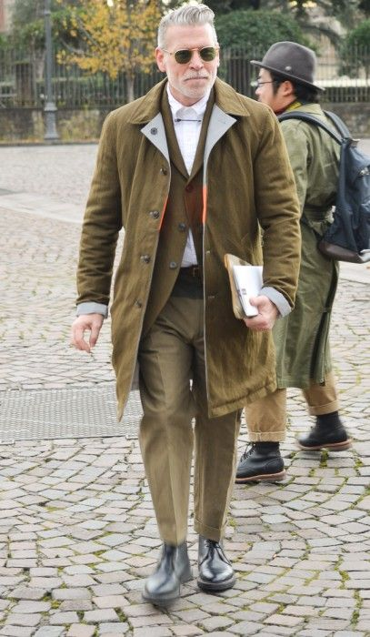 Nick Wooster, Olive Green, Pitti Uomo Day 3, Mens Fall Winter Fashion.