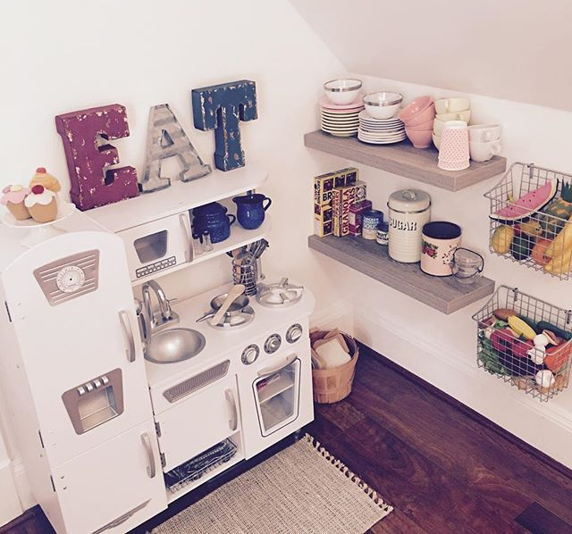 My little girls farmhouse kitchen is finally complete! She's spending a lot  of Playroom OrganizationPlayroom IdeasToddler ...