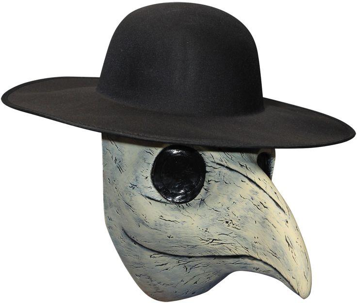Masque de médecin de peste : Ce demi-masque pour adulte évoque la protection que portaient les médecins du temps de la peste (chapeau non inclus).En latex blanc gris, il est peint à la main. Les yeux sont...