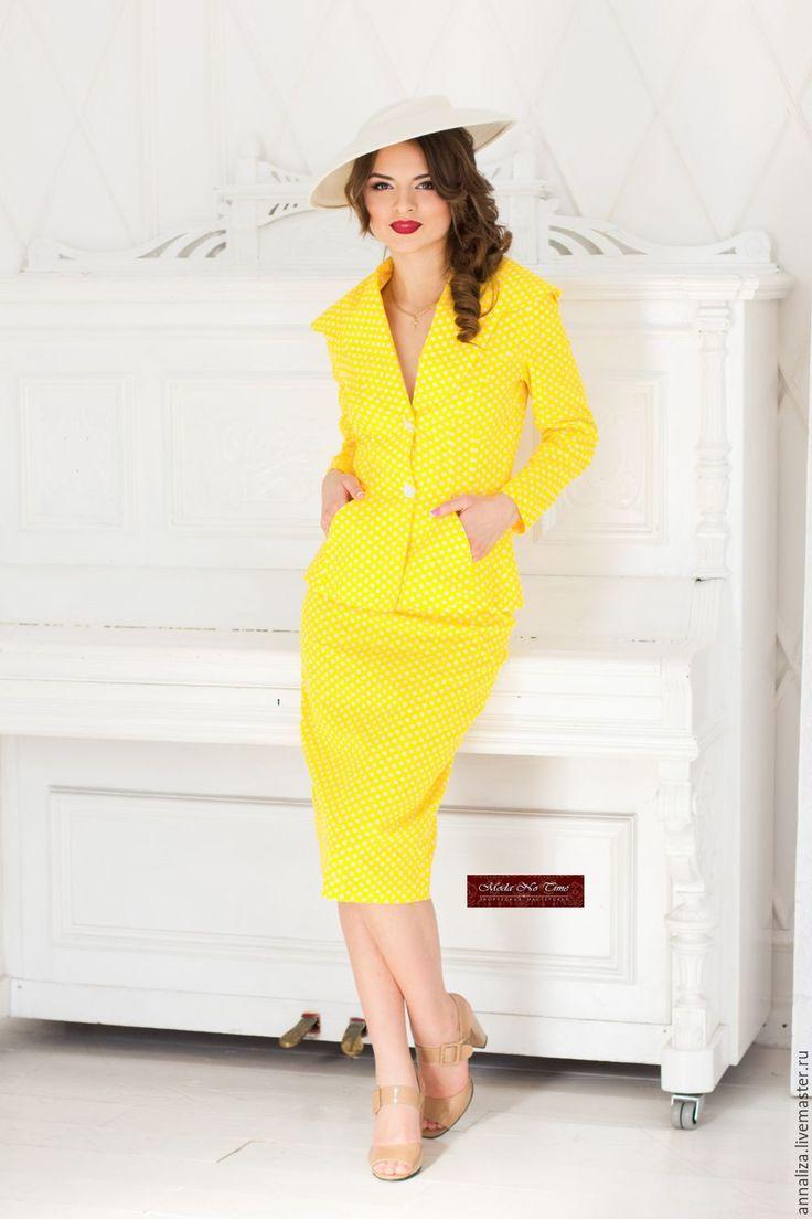 """Купить Женский деловой костюм в ретро стиле """"Гороховый"""" - костюм деловой, женский костюм"""