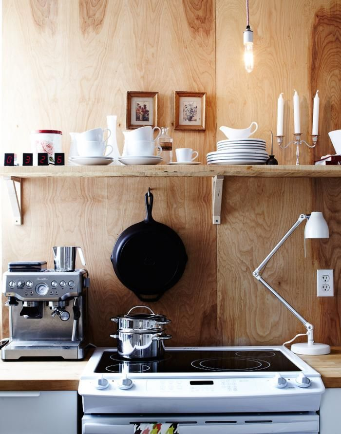 remodelista kitchen | Above: Hannotte covered the walls with birch plywood and created ...