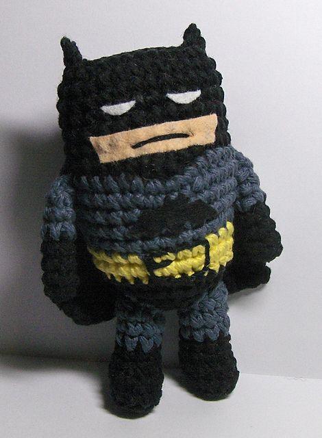 Crocheted Amigurumi Batman! (Pattern by Emjay Bailey)