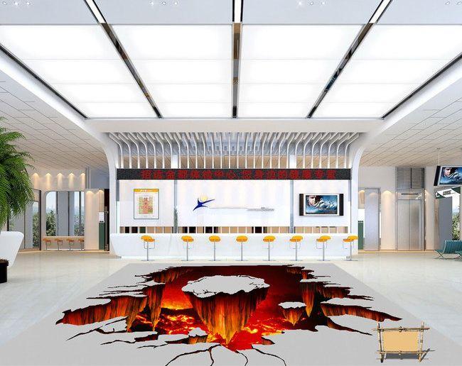 décoration stand revêtement de sol trompe l'œil 3D - Éruption de volcan