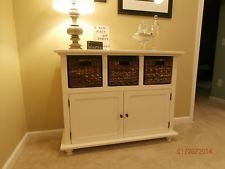 entryway tables with storage | Entryway Storage Table with woven baskets (like Pottery Barn)