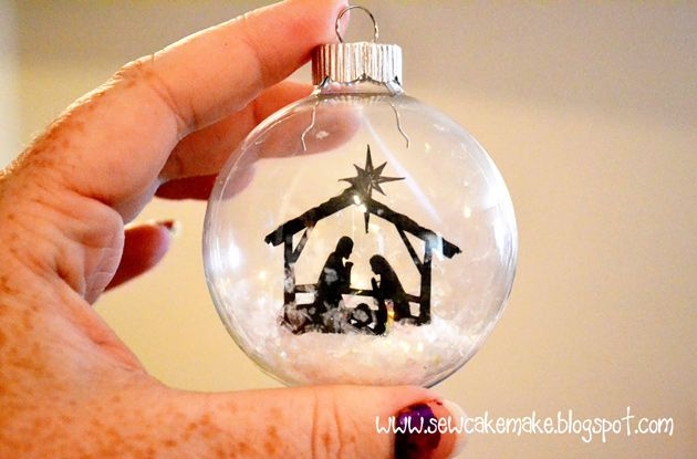 Silhouette does ornaments too! You can also apply the negative portion of a stencil, fill in the image with etching cream and when you remove it have an etched glass ornament.