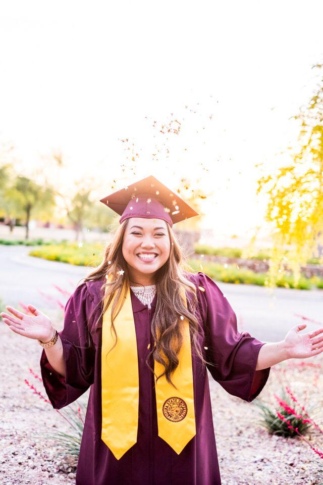 Graduation photo with confetti, Arizona state university polytechnic