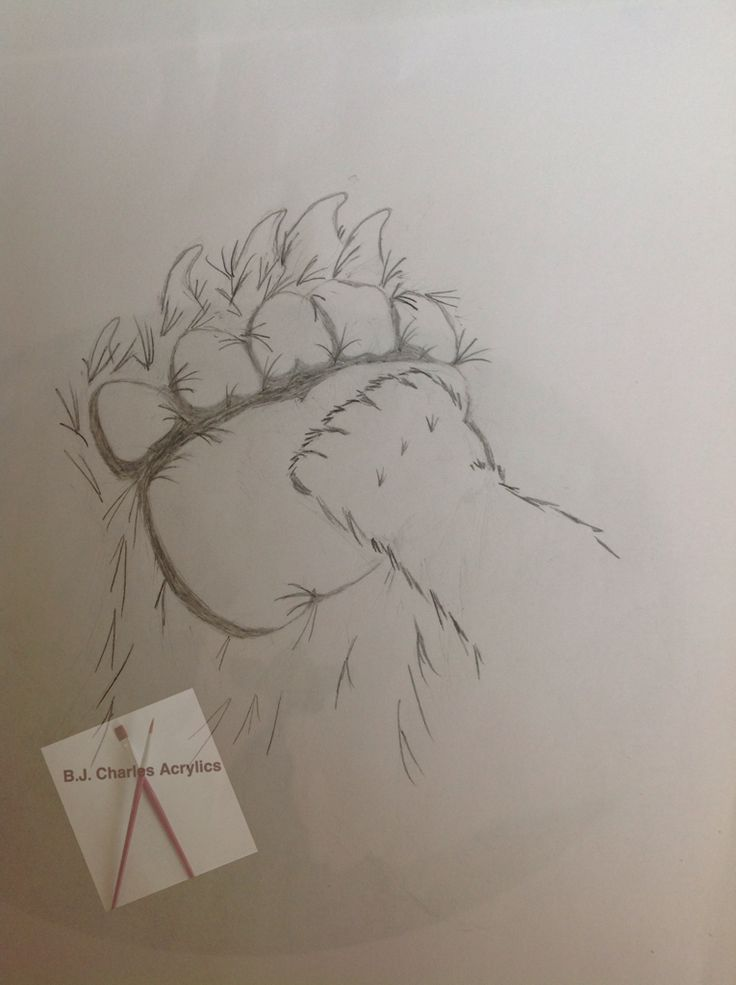 Custom sketch by B.J. Charles... Tattoo design, mama and cub bear paws