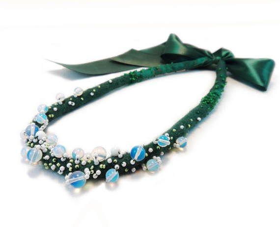 Green Felt Necklace. Opalite Jewelry. Merino Wool Necklace.