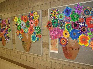 Each kid makes their own flower to add to pot--Idea for class masterpiece for auction