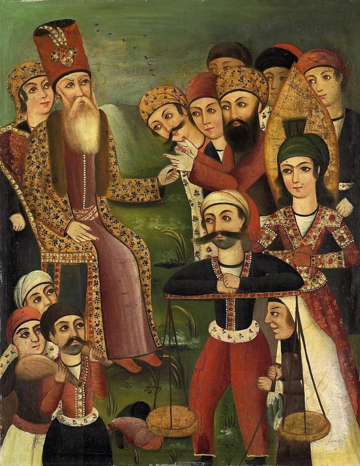 Yusuf appears before the pharaoh. Qajar Iran late 19th century