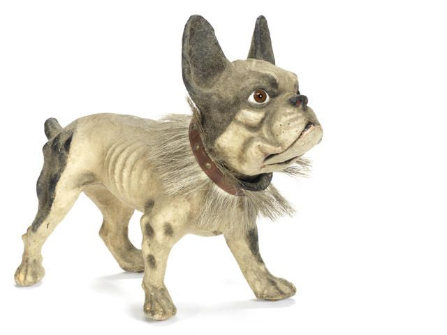 Roullet & Decamps Boston bull terrier barking dog, French circa 1900