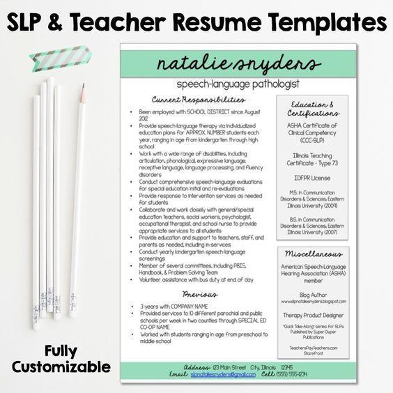 Speech Language Pathology Cover Letter: SLP & Teacher Resume And Cover Letter Templates