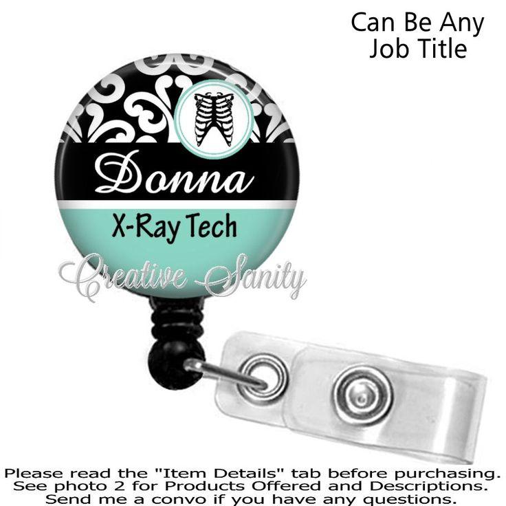 X-Ray Tech Badge Holder, Black Damask X-Ray Teach, Rad Tech, Choice of Badge Reel, Carabiner, Lanyard, Steth ID Tag, Littmann III Cardio by CreativeSanity on Etsy
