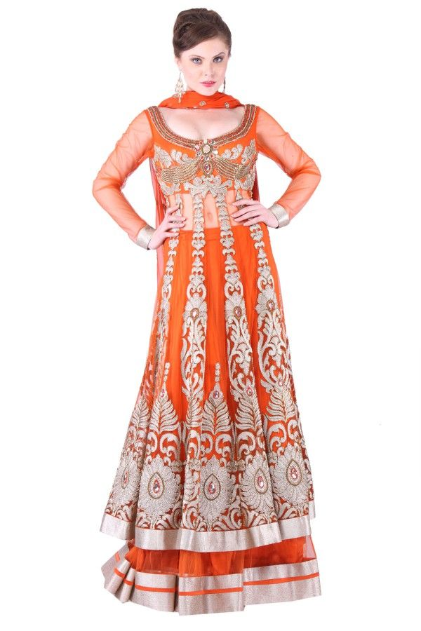 Orange Net Lehenga  Online Shop at: http://www.shadesandyou.com/product/orange-net-lehnga/