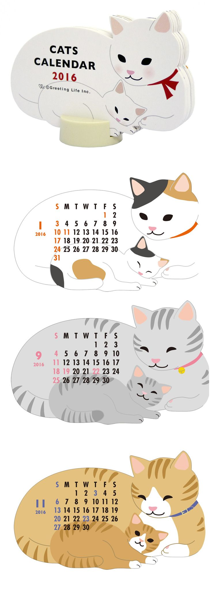 ONLI 온리샵 : 2016 그리팅라이프 고양이가족 탁상 캘린더 ※ 책상달력,선물
