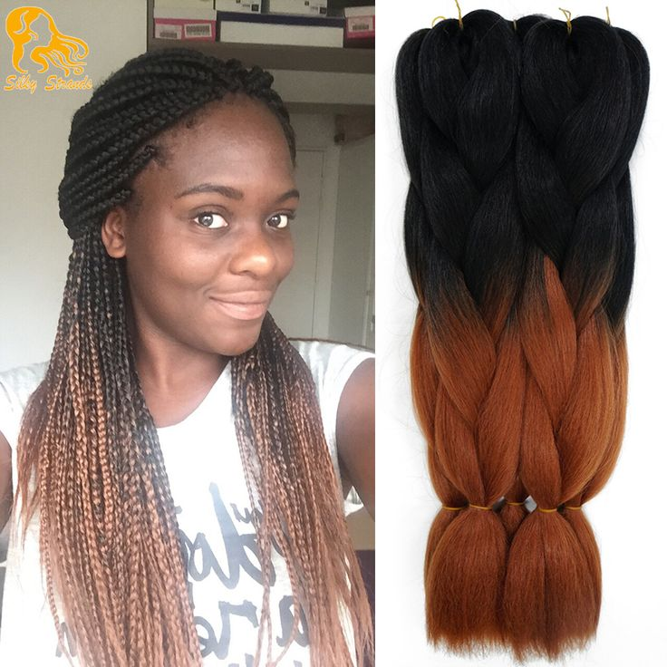 1Piece Ombre Kanekalon Jumbo Braiding Hair Colors Gray Purple Brown Blonde 24''100g Two Tone Synthetic Box Braids Hair Extension
