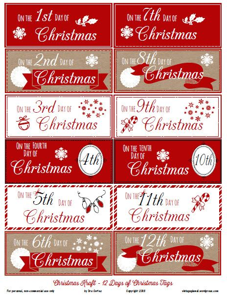 Free Printable Download - 12 Days of Christmas Gift Tags