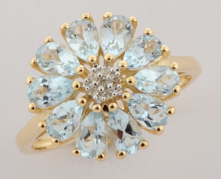 AQUAMARINE 2.35 CT GEMSTONE DIAMOND FLORAL RING IN 9 KT YELLOW GOLD #R5147 #DJOYER #Floral