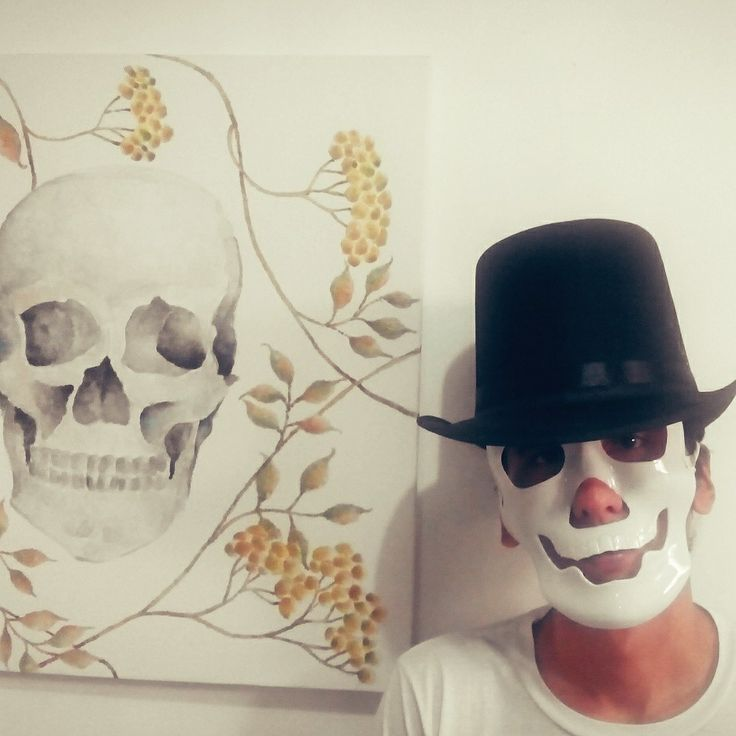 Skull mask, hat and my artwork