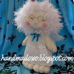 HANDMADOWO: Anioł w okularach -lalka kolekcjonerska