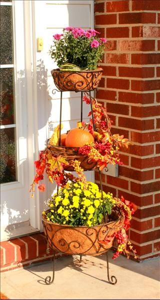 Botanica Tiered Planter from Willow House filled with mums and pumpkins www.denisecosgrove.willowhouse.com
