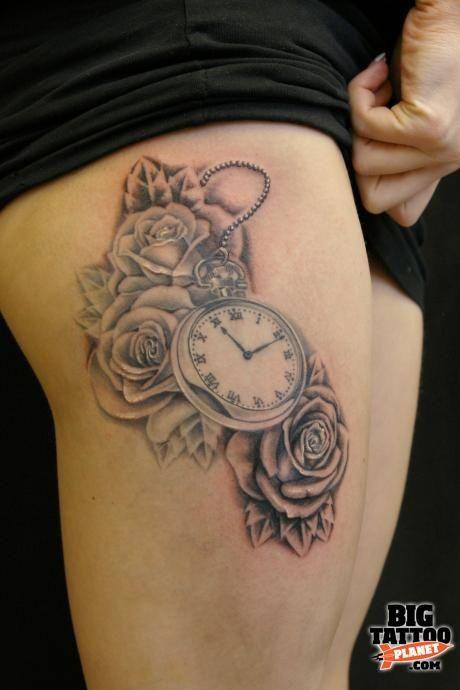 grey butterfly white rose   tatouage rose sur la cuisse
