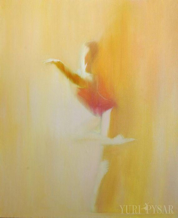 Beige canvas art - Ballerina print - Dancer poster - Mustard wall art - Dancer print of original painting