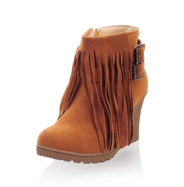 $14.05 Leisure Buckle Tassel Embellished Pure Color Short Boots Ochre i3598406