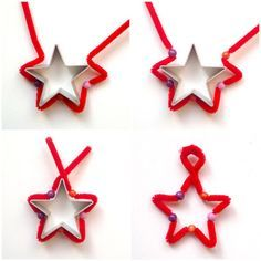Tutorial:  Stern aus Pfeifenputzer  Tutorial for a Star made from pipe cleaner and beads