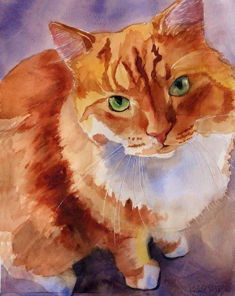 Marmalade Tabby Cat  Art Print of a Watercolor by rachelsstudio, $25.00